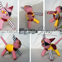 Yellow, pink and Stripy Raggy Patch Kitty