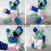 Blue Polka Dot, green and floral white, raggy patch teddy bear.