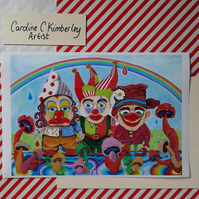 Three Clowns, Mushrooms and a Rainbow digital reproduction Print