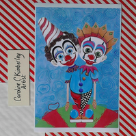 Two Headed Clown digital reproduction Print