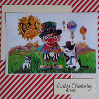 Time Travelling Clown with Cats digital reproduction Print