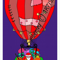 Santa Claus delivering Christmas Eve gifts in his Hot Air Balloon, digital Print