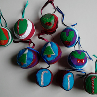 Christmas Fabric Hand - Stitched Baubles
