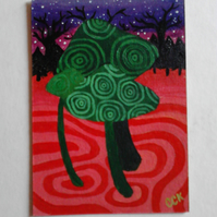 Psychedelic Toadstools original ACEO miniature painting