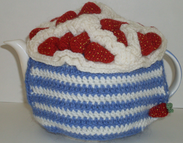 strawberries and cream crochet tea cosy