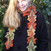 Autumn leaf scarf cosy scarf  gift for a friend  crochet scarf  warm scarf