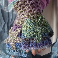 Woman crochet hand warmers