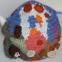 crochet Autumn wood teapot cosy   ready to ship