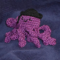 Bernie the business octopus crochet brooch