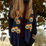 Crochet peacock eye scarf  teen gift  woman gift  Autumn scarf  Winter scarf