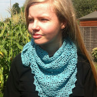 Crochet cotton triangular scarf  kerchief  shawl  teen gift  woman gift