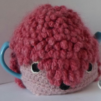 Crochet Rose the hedgehog tea pot cosy