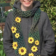 Sunflower scarf gift for a woman