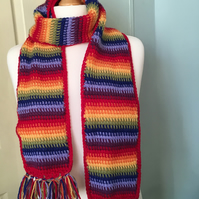 rainbow scarf, cosy scarf, crochet scarf, gift for a man, gift for a woman