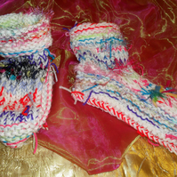 Handknitted Rainbow Coloured Chunky Snuggly Slipper Socks Boots (SMALL) (3-4)