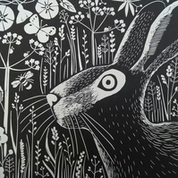Norfolk Hare 'Marriott's Way Hare' Limited Edition Original Hand Pulled Linocut