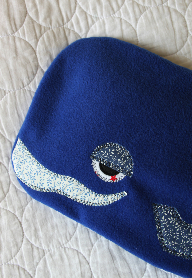 Hot water bottle cover- cozie - blue whale