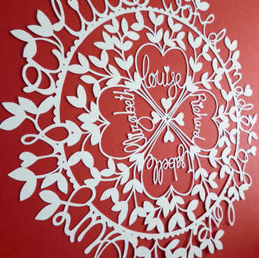 'Ours is a Little World Made of Love' Hand-cut Personalised Family Papercut