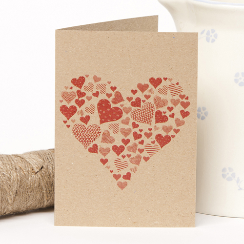 Recycled Rustic Red Heart Greetings Card
