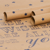 Recycled Brown 'These Wishes' Gift Wrap - 3 Sheets