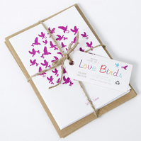 Recycled Love Birds Greetings Card Pack
