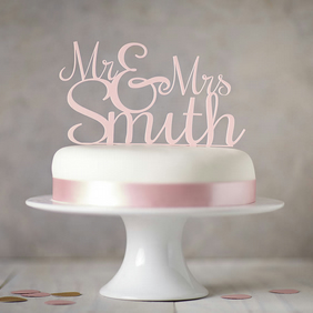 Small: Personalised 'Mr And Mrs' Wedding Cake Topper