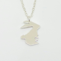 Sterling Silver Geometric Bunny Rabbit Necklace