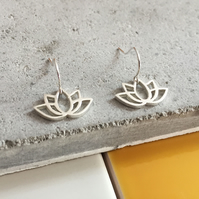 Sterling Silver Lotus Drop Earrings