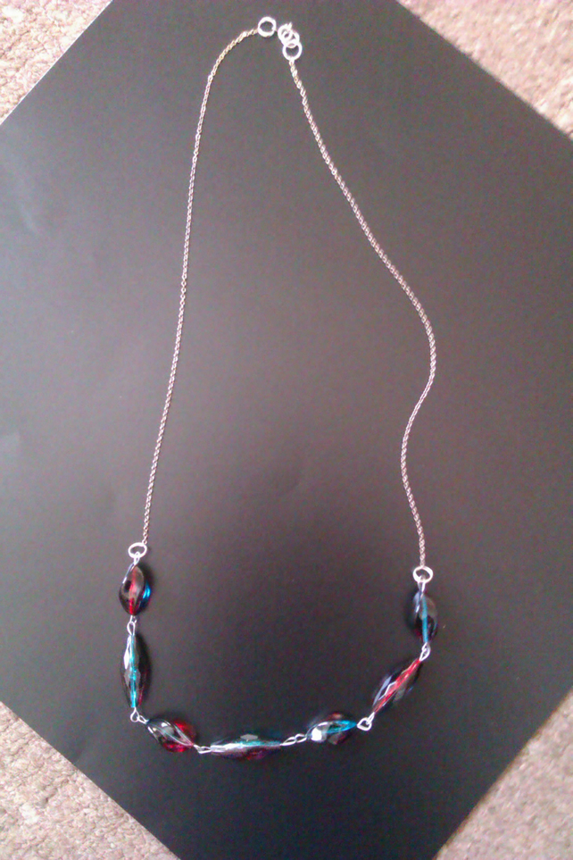 long necklace with two tone beads