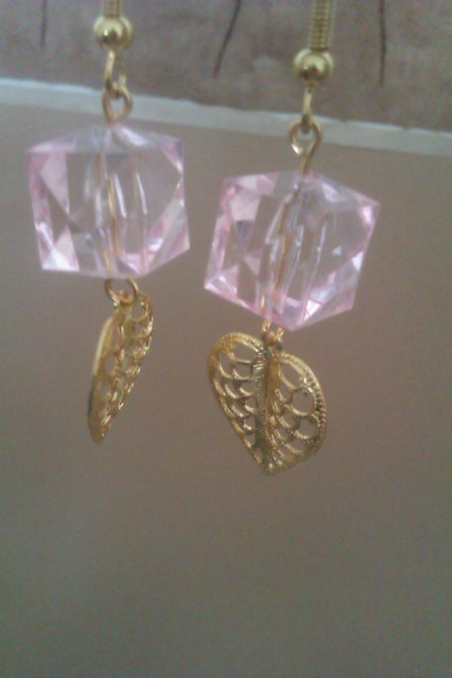 pink earrings with leaf detail