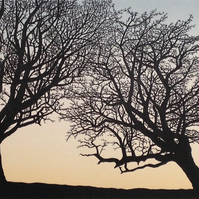Balance: linocut type print of two hawthorn trees on Dartmoor