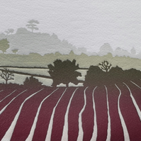 Red Field: handmade, original print