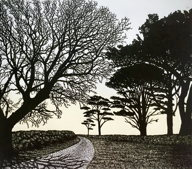 To The Sea, original linocut print of trees in the English landscape