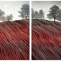 Big Field I and II, trees on a hill, Devon red earth, moody sky, original print
