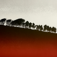 Ridge, handmade print, Dartmoor, moody sky, trees on a ridge