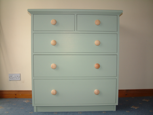 Hand made and painted chest of drawers in green folksy