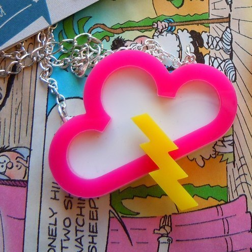 "Pink Acrylic Storm Thunder Cloud Necklace ""Electric Storm"""