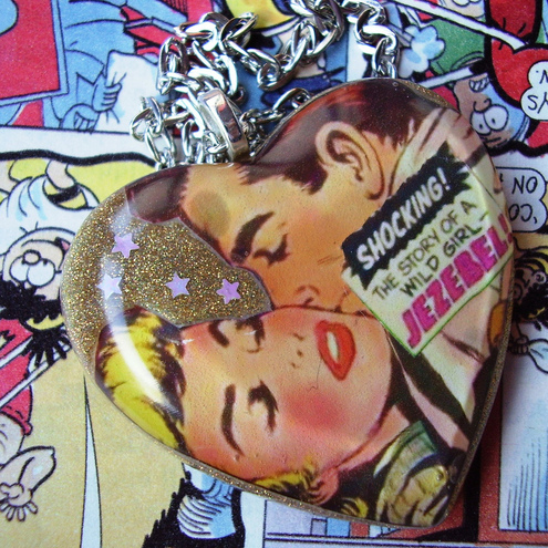 "Bubble Heart Necklace made from Vintage Comic ""ThE StOrY Of WiLd JeZeBeL"""