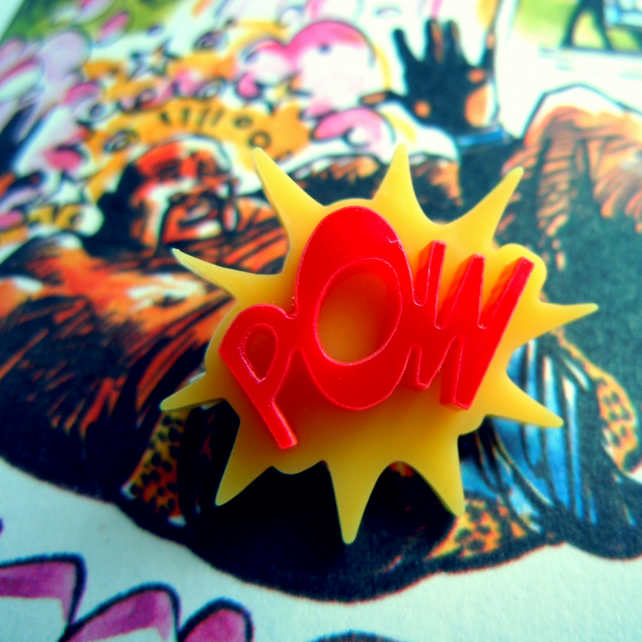POW! Comic Inspired Mini Pin-Badge RED AND YELLOW