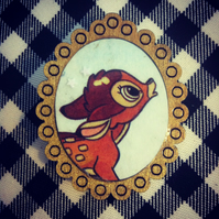 Vintage Bambi book brooch with gold frame - one of a kind!