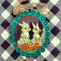 Vintage Bambi Thumper book necklace with turquoise frame - one of a kind!