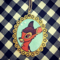 Vintage Bambi book necklace with gold frame - one of a kind!