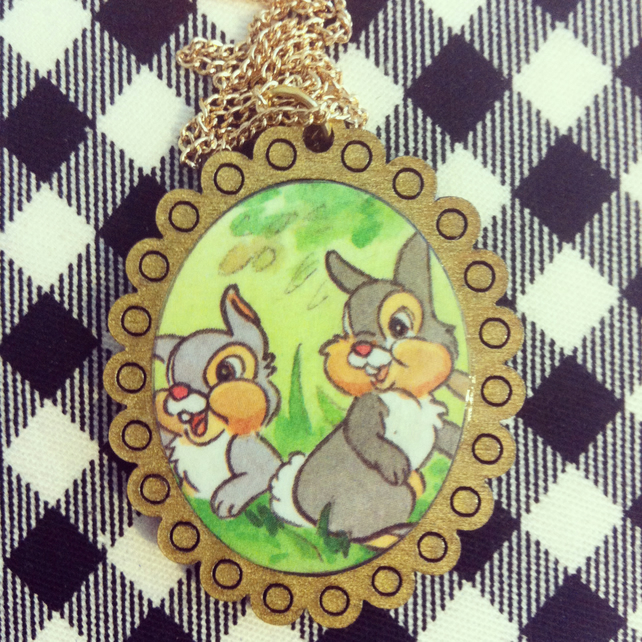 Vintage Bambi Thumper book necklace with antique gold frame - one of a kind!