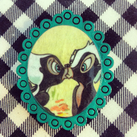 Vintage Bambi Skunk book brooch with turqoise frame  - one of a kind!