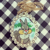 Vintage Bambi Thumper book necklace with cream frame - one of a kind!