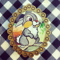 Vintage Bambi Thumper book brooch with antique gold frame - one of a kind!