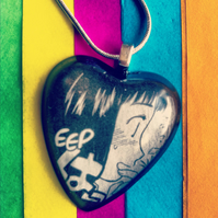Manga necklace with bubble heart pendant 'Eep'