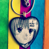 Manga necklace with bubble heart pendant 'I won't mind...'