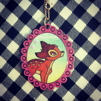 Vintage Bambi book necklace with pink frame - one of a kind!