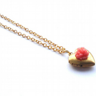 Coral Heart Locket Necklace